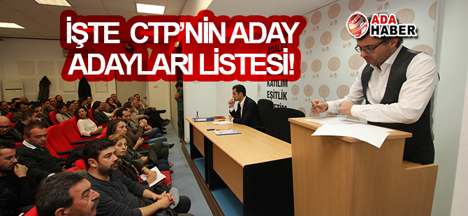 CTP'nin 53 kişilik aday adaylığı listesi onaylandı...