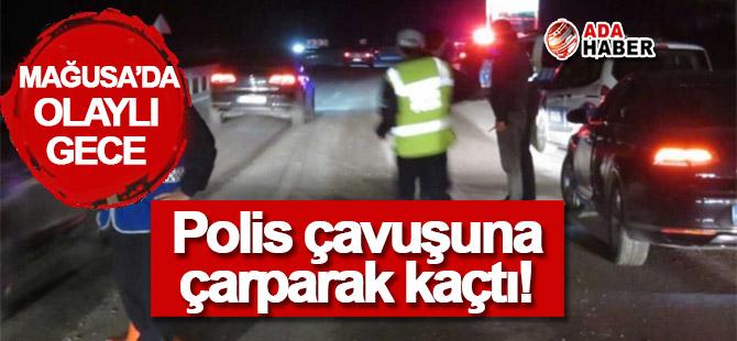 Polis çavuşuna çarparak kaçtı!