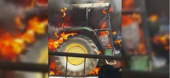 Traktör alev aldı: Faciadan dönüldü!