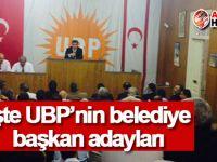 UBP'nin belediye başkan adayları netleşti!