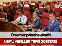 Önlemler paketine UBP'li milletvekillerinden eleştiri