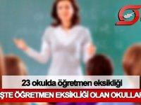 23 okulda öğretmen eksikliği